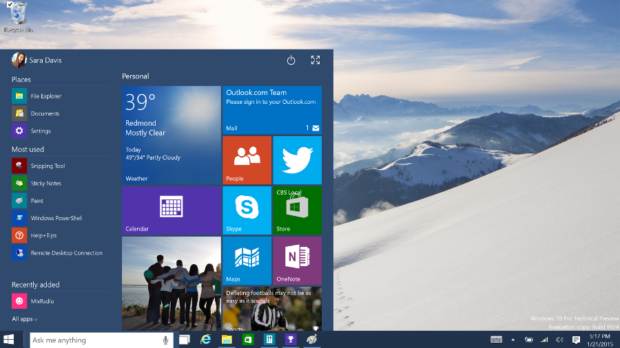 Windows 10 desktop: c'è il download della build 10532 per gli Insider